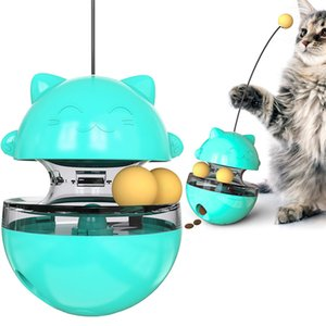 Pet toy tumbler tease cat interactive puzzle leaky food ball stick animal PU