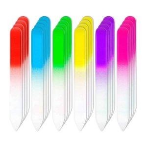 24 قطع ملفات الأظافر ملفات الزجاج الأظافر الأظافر العناية الرعاية مانيكير مجموعة أدوات، التدرج rainbow اللون العازلة أدوات مانيكير