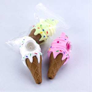 Hight Quality Ice cream cool pipe for smoking dab herb tobacco silicone bong girly design cone hand pipe 3 color box package