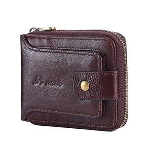 Мужская топ-зерна кожаный кожаный кошелек RFID блокирующая карта держатель монет кошелек