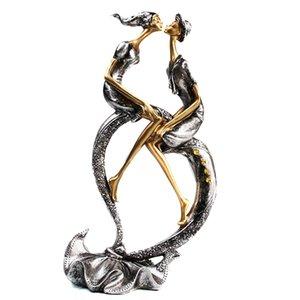 Bacio coppia figurina resina handcarfts amanti statua figurina decorazione della casa design originale amore artigianato per home office c0220