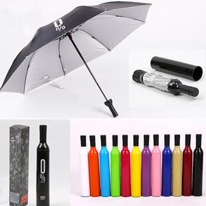 2021 جديد الإبداعية النساء زجاجة النبيذ مظلة 3 للطي الشمس المطر الأشعة فوق البنفسجية مظلة مصغرة للنساء الرجال هدايا المطر العتاد مظلة بيع