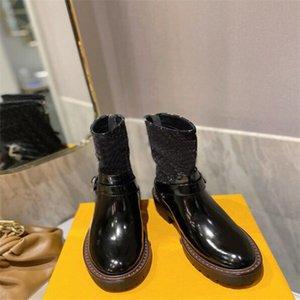 Lüks Tasarımcı Bayan Yarım Çizmeler Ayakkabı Kış Tıknaz Med Topuklu Düz Kare Toes Ayakkabı Rainboots Zip Kadınlar Orta Buzağı Booty Aşınmaya Dayanıklı Kalın Soled Boot A555