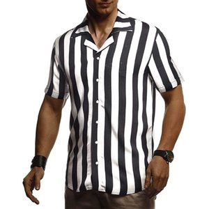 Mens Casual Shirts Summer Black and White Striped Short Sleeve Shirt Male Summer Fashion Hot Casual Patchwork Blouse Outfits