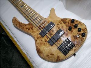 Envío gratis deoliv 5 cuerdas Guitarra bajo, Burl Maple Chapeer Ash Wood, Botón de cuello de arce en cuerpo, botón negro, Inlay Taiji