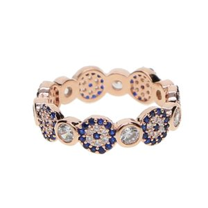 ROSE GOLD COLOR top quality bezel cz evil eye linked designer lucky sign turkish eye fashion elegant women finger ring