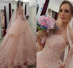 Blush Pink Hand Made Flowers Wedding Dresses Princess 2021 Lace Beaded Strapless Bridal Dress Extra Samll Open Back Bridal Dress Custom Made