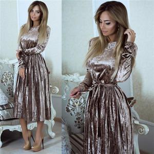 Robe de velours à manches longues Susirita Vintage Femmes 2021 Bodycon Belted Robe Midi Robe De Spring Plissé Robes Vestidos Robe Femme