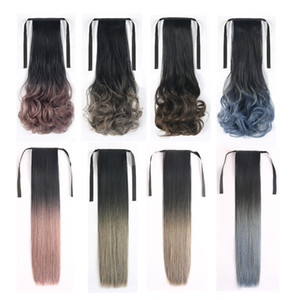 Ombre Straight Ponytails Strap Clip In Ponytail Hair Extension Curly Heat Resistant Fiber Synthetic Pony Tail 2 Pcs 20 inch
