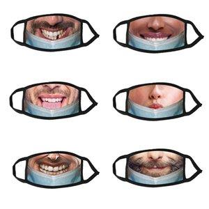 مصمم الأزياء الوجه قناع الوجه نكتة مطبوعة مضحك التعبير قناع الكبار الباردة واقية تنفس الغبار الفم faceMask