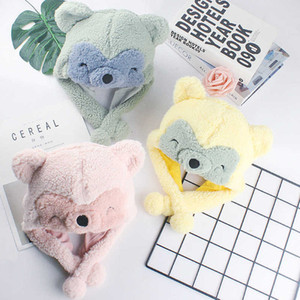 Children's Hat Integration Autumn Winter Korean Ear Cap Boys and Girls Lovely Baby Plush Hooded Scarf