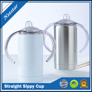 12oz Sublimation Straight Sippy Cup with two Lids Sublimation Blanks Coffee Mug Stainless Steel Tumbler Insulation Baby Bottle A02