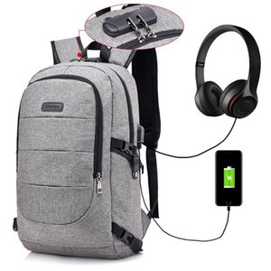 Mochilas masculinas Rucksack à prova de assaltos Rucksack USB Charger Viagens Montanhismo Sacos Femininas Headsets Jacks Music Packs Bolsa
