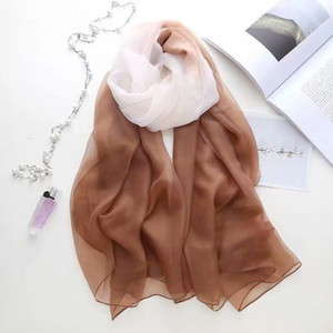 2019 printed large size imitation gradual change silk summer sun protection beach towel shawl women's scarf