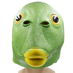 Funny Cosplay Costume Novelty Games Unisex Adult Women Men Carnival Party Green Fish Head Mask Headgear Alien Emulsion Make Fun of Toys Gifts 0101