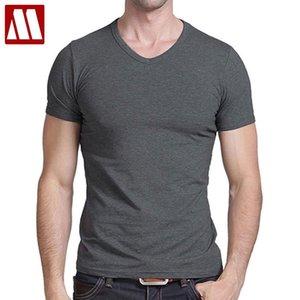 Camiseta Camisetas de manga corta casual para hombre Camisetas con cuello en V sólido Envío gratis 2021 Venta caliente de verano Algodón negro / gris / verde mydbsh 210301