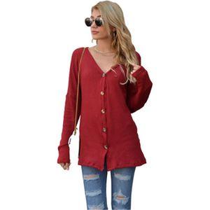 Waffle Strick T-shirt Mode Trend Langarm V-Ausschnitt Strickjacke Tops Designer Weibliche Herbst Neue Single-Breasted Casual Lose T-Shirt