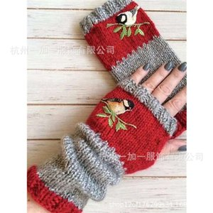 New fashion warm stitching embroidered gloves for women in autumn and winter 2020