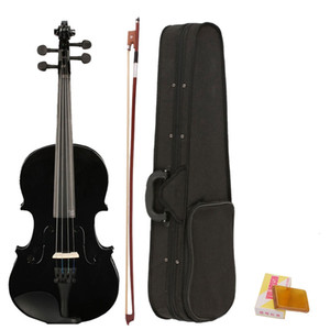 4 4 Full Size Acoustic Violin Fiddle Black with Case Bow Rosin made from composite wood, plastic, ebony and white horse tail
