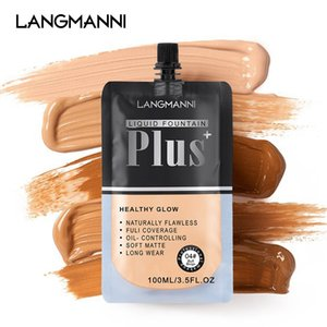 LANGMANNI 100ML Matte Makeup Foundation Base Cream Bag Packing For Face Full Coverage Waterproof Professional Concealing Liquid Long-lasting Cosmetic 1230