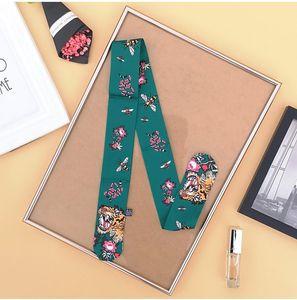 2021 New Bag Scarf Little Bee Plaid Print Women Silk Small Bag Ribbon Female Hair Ribbon Scarves Tiger head