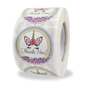 500pcs Roll Thank You Colorful Printed Self Seal Adhesive Sticker Label 1.5inch 3.8cm Rolling Holiday Gift Package Stickers