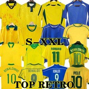 2002 Brasil Fussball Jerseys 1998 Retro Hemden Carlos Romario Ronaldo Ronaldinho 2004 Camisa de Futebol 1994 Bebeto 2006 1982 Rivaldo 1957 Pele