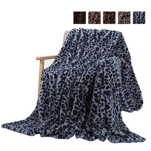 Blankets Elegant Leopard Design Fuzzy Blanket Sheets Super Soft Rabbit Fur Crystal Short Plush Bedding Sofa Cover WLL407