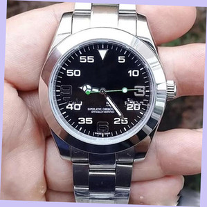 Top Luxury Menes Watch Exp Air King Série 116900 - 216570 Black 40mm Dial Movimento Mecânico Automático 316 Steel Brand Designer Watches
