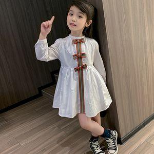Girl's Dress Long Sleeve Bow Children Dress Fashion Cute Summer Dress Princess Kids Dresses for 1t-5t Girl Wear
