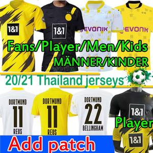 4XL Bundesliga Borussia Dortmund maillots de foot Fans Player Version Haaland Reus 110th Jersey maillot de football 2020 2021 Sancho Reyna Hommes Enfants Kits Longues Manches