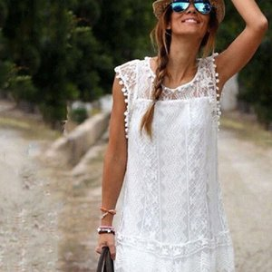 2021 Summer New Fashion Women Casual Lace Sleeveless Beach Short Dress Tassel Mini Dress Vintage Sweet Lace White Dress robe