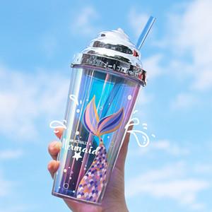 Tazza di acqua glitter elettroplatata tazza di acqua creativa paglia sirena in plastica tazza di plastica a doppio strato riutilizzabile tazza con motivo a sirena 420ml GWA3623