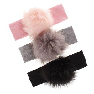 Bambino Faux Fur Banchina Neonato Pompoms Head Wrap Fascia per capelli elastici Bambini Turban Bebe Fascia per bambini Accessori per capelli Bambino