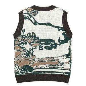 Harajuku 2021 New Jumper Hip Hop Streetwear Big Tree Graffiti Knitted Sweater Men Women Sleeveless Pullover Vest RT9Z