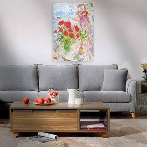 Marc chagall kırmızı buket duvar dekor handpainted HD baskı yağlıboya tuval üzerine büyük duvar sanatı tuval resim 210225