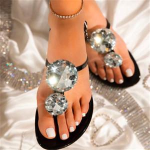 Lager حجم النساء الصنادل الكبيرة الماس الساطع انفجار الإناث النعال الكريستال الصيف جيلي الأحذية شقة مع أحذية الشاطئ الأزياء