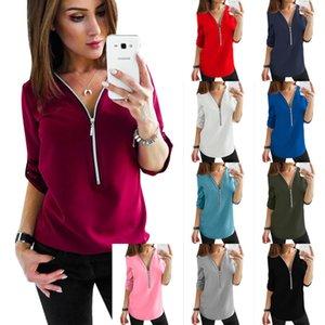 Women's Tops Summer Casual T-Shirt short sleeve V-neck zipper vest Loose Sexy Solid color Tees 10 colors Plus Size S M L XL 2XL 3XL 4XL 5XL