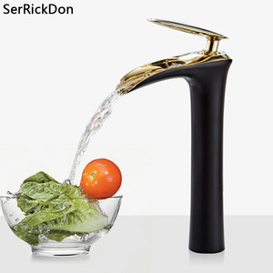 Basin Faucets Single Handle Deck Mounted Chrome Brass Square Tall Bathroom Waterfall Sink Faucet Hot And Cold Mixer Water Tap