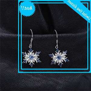 Luxury Women's Blue Crystal Drop Classic Silver Colour Brilliant For Women Lovely Snowflake Long Dangle Earrings