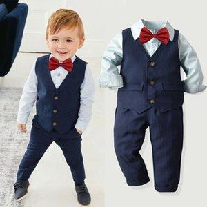4 шт. Детская детская одежда для мальчиков набор твердых рубашек Топы + жилет + брюки свадьба смокинг Фуксинги формальный костюм