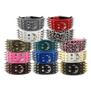 New Style 3 inch Wide 11 Colors Spiked Studded PU Leather Large Dog Collars For Pit bull 2021 new
