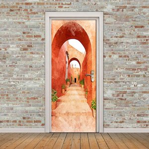 Wallpapers Red Corridor Arch 3D Door Stickers Mural PVC Self-adhesive Waterproof Tapety Modern Living Room Decoration Bedroom Wall Paper