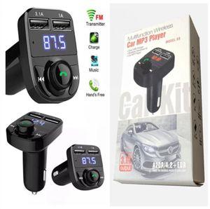 FM x8 송신기 AUX 변조기 블루투스 핸즈프리 자동차 키트 자동차 오디오 MP3 플레이어 3.1A 빠른 충전 듀얼 USB 자동차 충전기