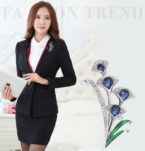 High Grade Oil Drop Brooches Pins Green Rhinestone Plant Shirt Collar Jewelry Pins Women Suit Corsage Broach
