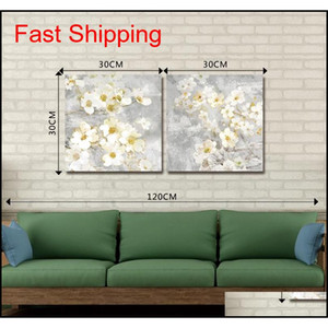 Dyc 10059 2pcs White Flowers Print Art Read jllqgL loveshop01