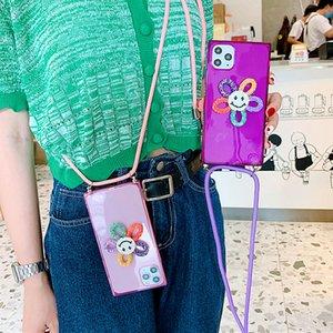 Caja del teléfono de la cordillola de girasol cuadrada linda para iPhone 11PRO XS MAX XR 6 7 8 PLUS FLUORESCENTE DE NEON FLUORESCENTE CUBIERTE SOFTUL