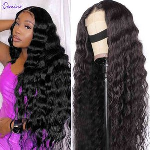 Loose Deep Wave Front Hu Hair s For Women 13X4 Frontal Peruvian kinky Curly Closure 4X4 Lace Wig