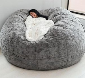 Мебель для лагеря мягкий удобный гигантский меховой меховой меховой мешок мешок для гостиной украшения отдыха круглый диван-кровать
