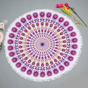 Летняя мандала круглая пляжное полотенце из микрофибры Ванна для ванн большой для взрослых с кисточкой открытый на открытом воздухе коврики для пикника кругом Йога коврик одеяло